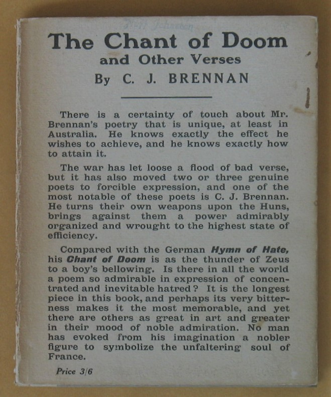 Image for The Chant of Doom and Other Verses